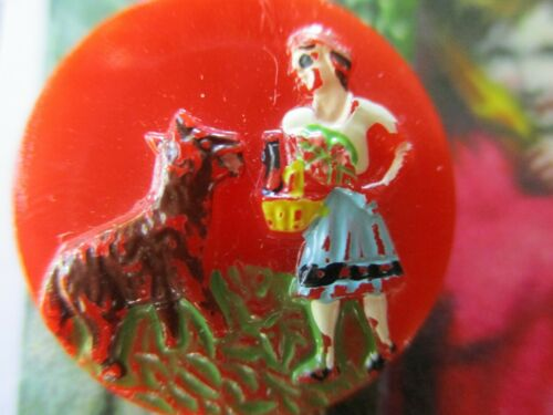 """Vintage 1""""  orange red riding hood and wolf  Glass picture Button"""