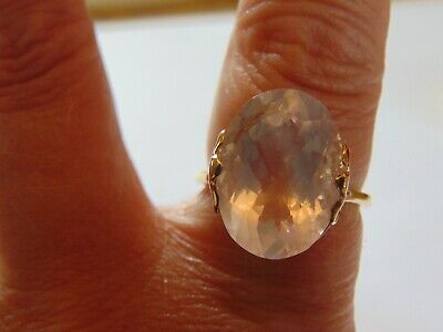 Large Heavy Vintage Solid 9ct Gold Oval Rose Quartz Ring Hallmarked SIZE S 6.1g