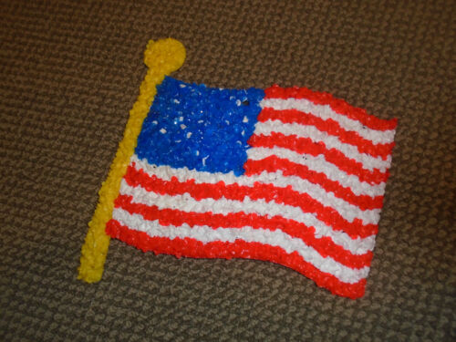 Vintage Melted Plastic Popcorn American Flag with tag