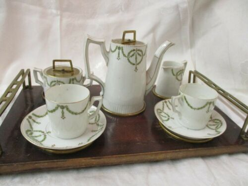Antique French porcelain 10 pc Tea Set w/ Tray green wreath on white Brass Lids
