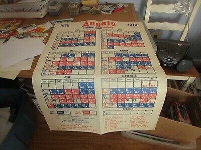 Super Rare Vintage 1978 California Angels Baseball Schedule Poster - 1978 California Angels