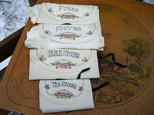 VINTAGE HAND MADE  EMBROIDERED FLATWARE ANTI TARNISH CLOTH BAGS ~ SERVICE FOR 12