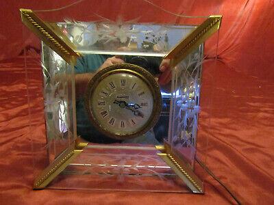 """RARE Vintage Sessions Clock Co Renaissance Face Mantle Clock Brass & Glass 8.5"""""""