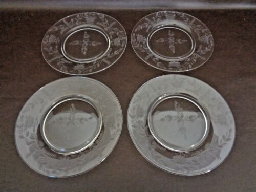 Set of 4 Etched Glass Fern Design Plates