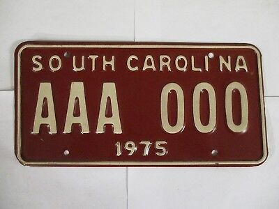 1975 South Carolina vanity SAMPLE ZERO  License Plate Tag