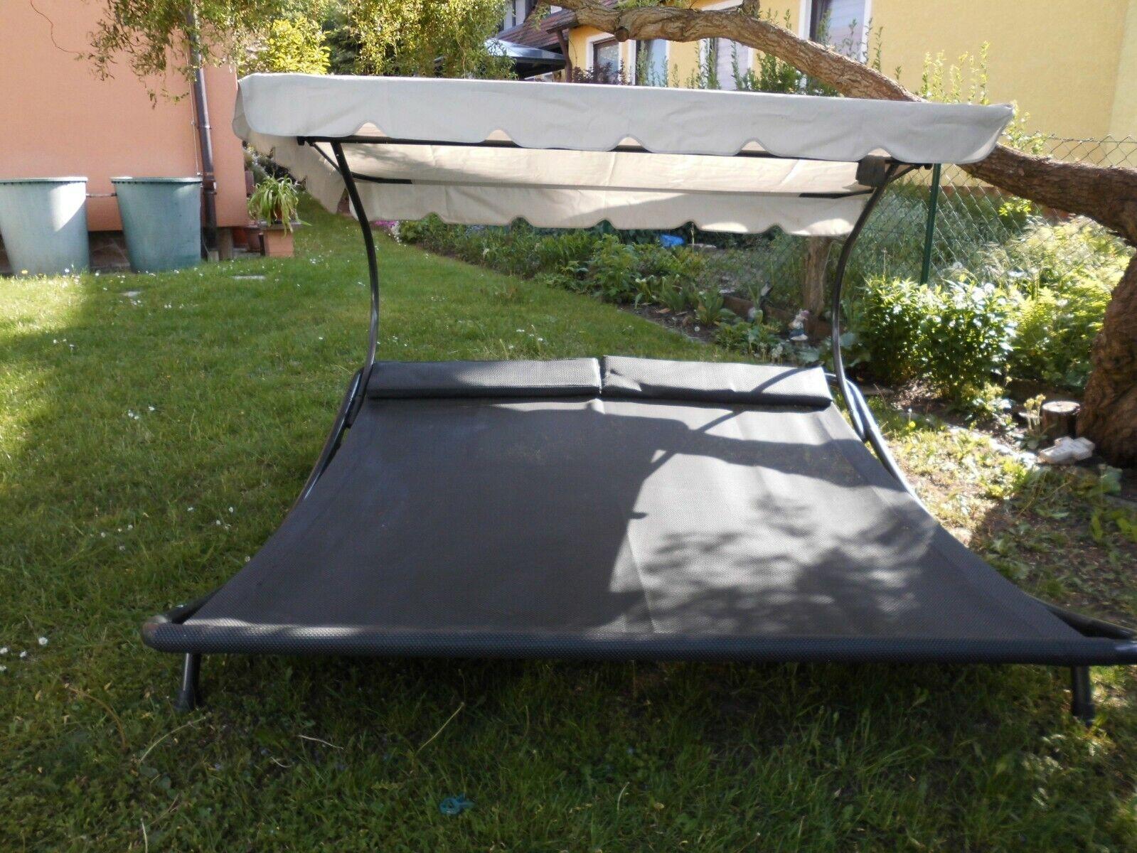 Doppelliege ,Double Bed,200/190,LECO,incl Dach,grau hochwertig,Gartenmöbel