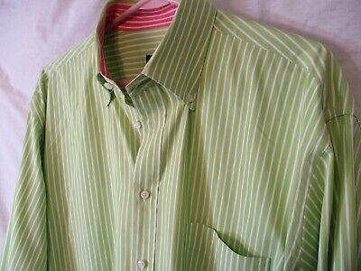 Classic XL Green Striped PAUL & SHARK 100% Cotton Button Down Shirt