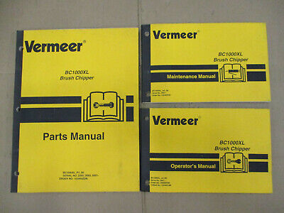 Vermeer Bc1000xl Brush Chipper Parts Operators Maintenance Manual Set Wood