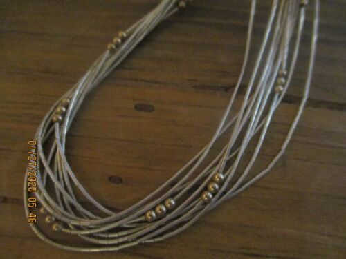 VINTAGE LIQUID SILVER STERLING 925 + GOLD fill BEAD 10 STRAND SOUTHWEST NECKLACE