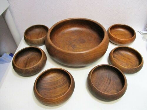 Vintage Genuine Teak Salad Bowl Set 7pc Goodwood