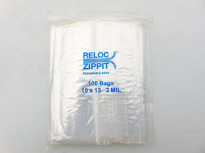 Ziplock Bags Large 10 X 13 Clear 2 Mil Zip Reclosable 100 Bags Zippit Reloc