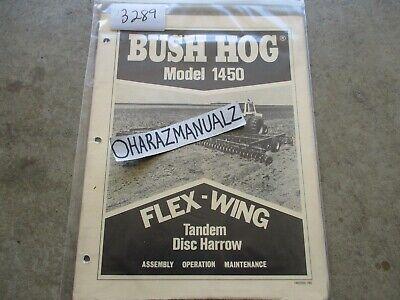 Bush Hog Model 1450 Flex Wing Tandem Disc Harrow Operators Manual