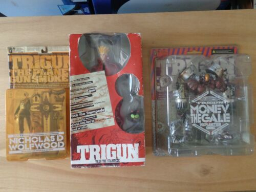 Lot Of Trigun Planet Gun Smoke Action Figures and Kitty Clip Wolfwood Monev Vash
