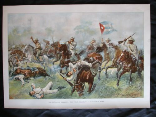 """1899 Spanish American War Print - """"Charge of Cuban Cavalry Armed with Machetes"""""""