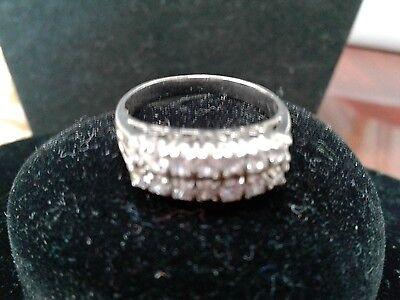 PLAT. & SS 2 ROW FANCY WEDDING ANNIVERSARY BAND RING + FREE GIFT sz 8 2 Row Wedding Band Ring