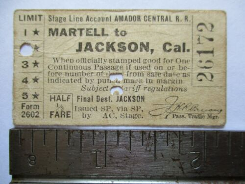 1930 Southern Pacific Amador Central Railroad Martel Jackson California Ticket