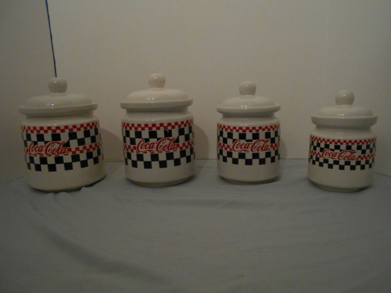 Coca-Cola Canisters Gibson Checkered Design Lot of 4: 3 (1996) 1 (1997) w/Lids