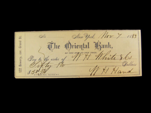 VINTAGE   THE ORIENTAL BANK   CITY OF NEW YORK   1883   CHECK