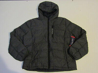 NAUTICA Heather Gray Ultra Light Down Jacket Quilted Puffer Coat M NWT Mens