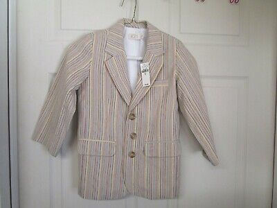 NWT Boy's Children's Place Seersucker Tan Stripe Blazer. Size 4.  3 Button front Shoes Seersucker Suit