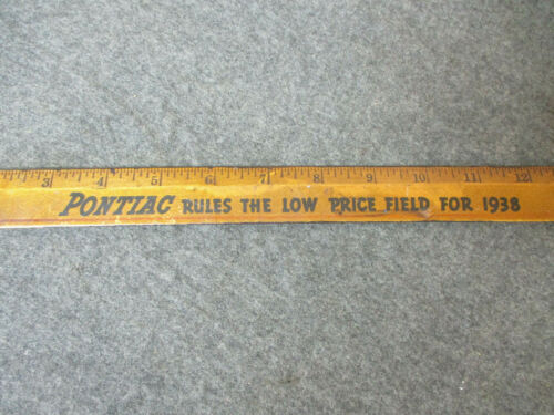 Vintage Advertising 1938 Ruler PONTIAC Dealer Wood Advertising Ruler