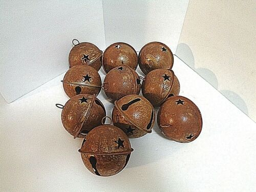 """LOT OF 10 ~ 3"""" LARGE RUSTY BELLS (80mm) with Cut out star  Primitive ~ CRAFTS"""