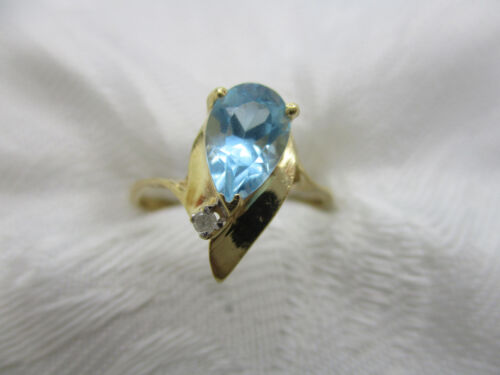 VINTAGE ESTATE JEWELRY 14K SOLID YELLOW GOLD BLUE TOPAZ DIAMOND RING SIZE 6 1/2
