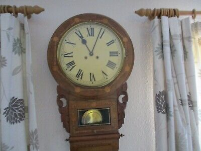 ANTIQUE AMERICAN DROP DIAL STRIKING WALL CLOCK C/W KEY - EXCELLENT INLAID CASE