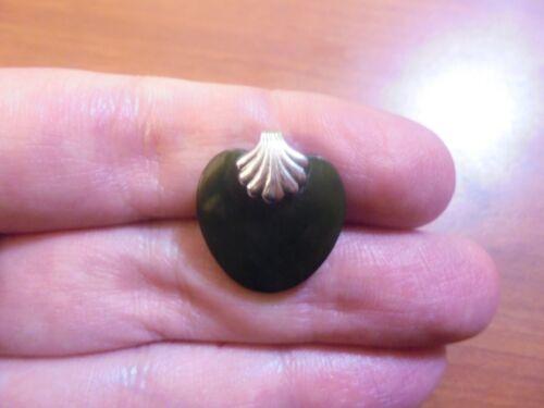 Vtg Sterling silver black onyx heart slide pendant 3.6 grams