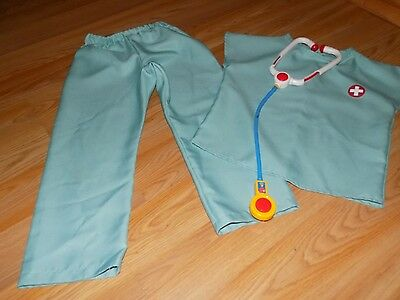 Size Small 4-6 Medic Costume Scrubs Doctor Nurse Vet Top Pants Stethoscope EUC