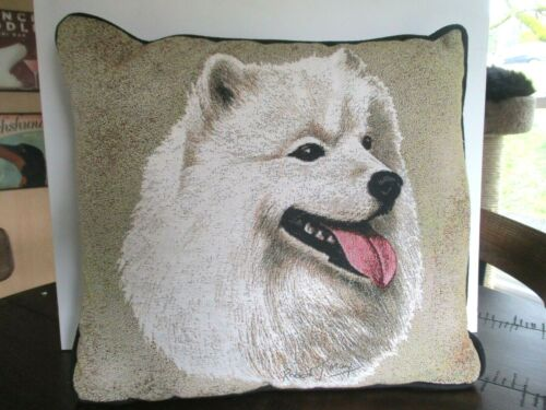 SAMOYED Dog Portrait Art Tapestry Pillow  Robert May