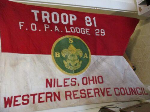 Vintage Boy Scout Flag 1957 Niles, Ohio Western Reserve Council