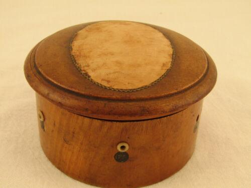 Antique Shaker Style Thread Box Purple Velvet Spool Bone Eyelets Inscription