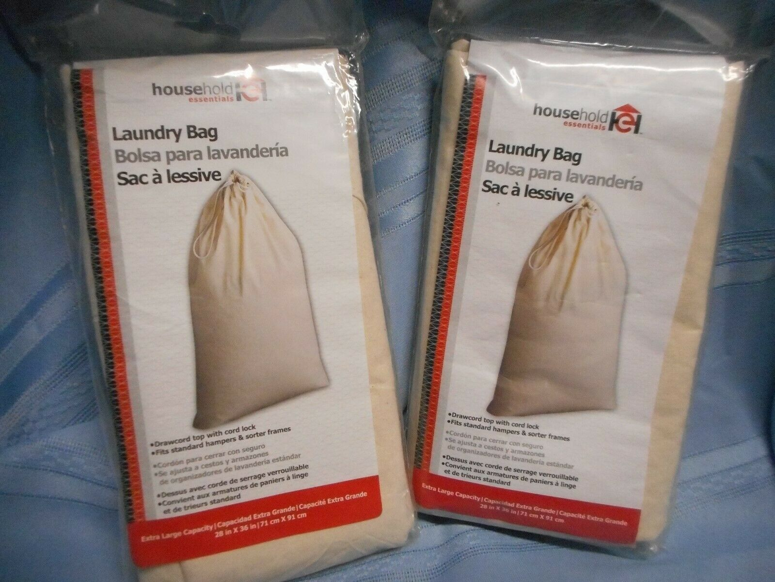 LAUNDRY BAG X2 SUPPLIES COTTON HOUSEHOLD ESSENTIALS X-LARGE
