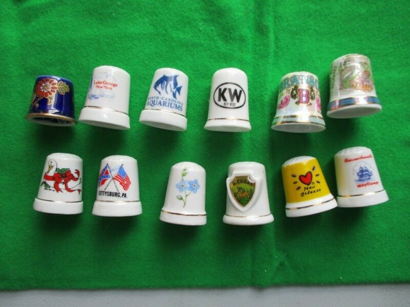 COLLECTOR THIMBLES--12 IN LOT--ALL DIFFERENT STATES