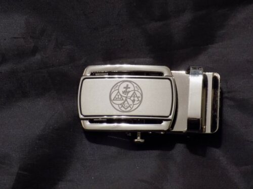 """Masonic Black Leather Ratchet Belt & Buckle Bodies York Rites Fits up to 60"""" NEW"""