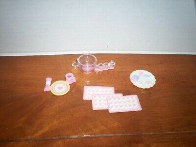 Loving Family Dollhouse VALENTINE'S DAY FOOD & DRINK TRAYS + PUNCH BOWL lot