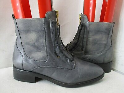 Miz Mooz The Inuovo Collection Gray Leather Zip Ankle Boots Womens Size 38 EUR