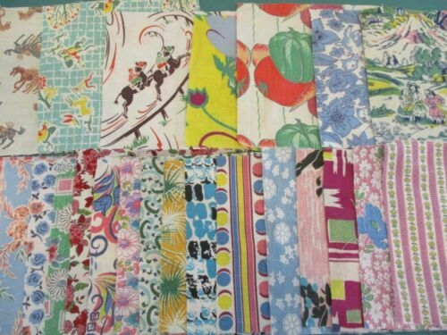 """Vintage Cotton Feedsack Fabric Squares 5"""" 6"""" Lot 24 Pieces Novelty Quilts Crafts"""
