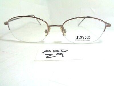 Vintage IZOD Stainless Steel Eyeglasses 341 Half Rim Japan Brown (Steel Rimmed Glasses)