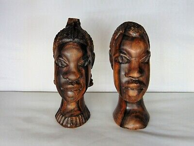 Vintage Ebony Hand Carved African Tribal Wooden Face Bust BookendsMale & Female for sale  Warren