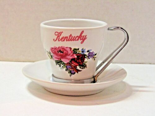 Kentucky Souvenir Tea cup Floral Ceramic Metal Handle Roses Teacup & Saucer Set