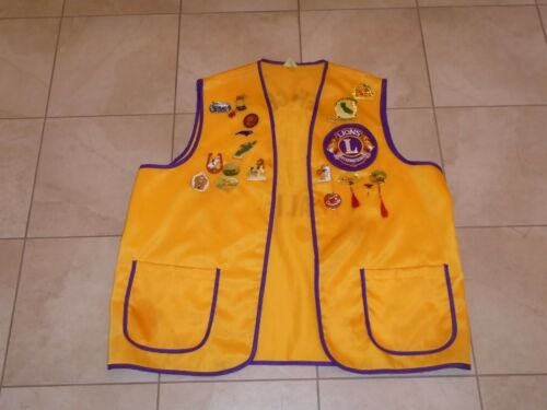 Vintage Lions International Club Vest California With 19 Pins  and 2 Patches XL