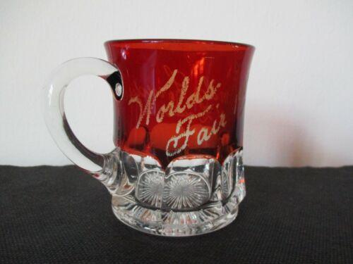 1904 Souvenir EAGP Ruby Flash Glass Cup Worlds Fair St Louis Missouri