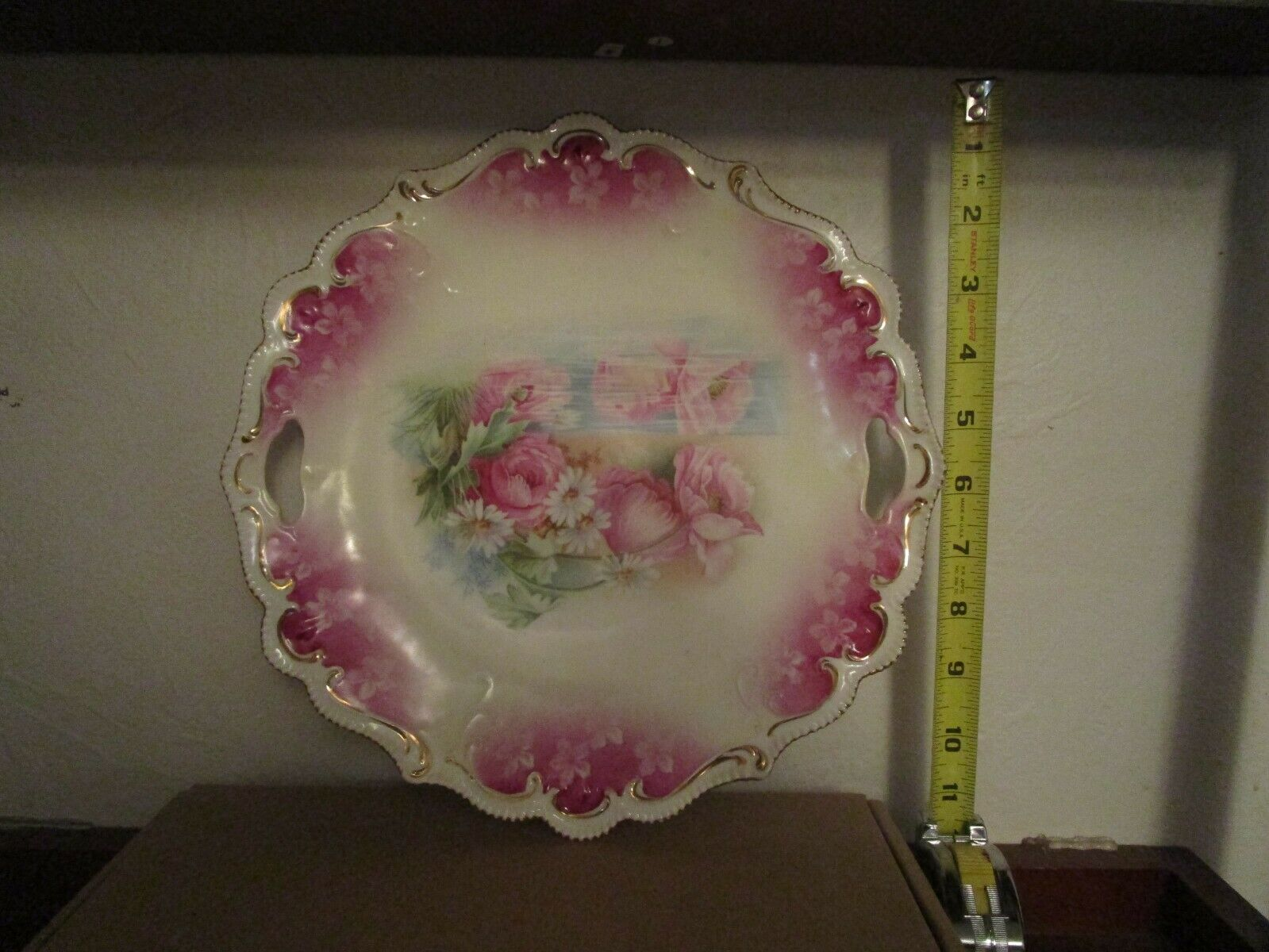 RS PRUSSIA Cake Plate 529 10 -Deep Rose W/ Unique Short Gold Swirls - $100.00