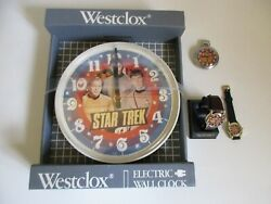 Star Trek Classic Westclox Wall Clock, Pocket Watch & 2 Wrist Watches