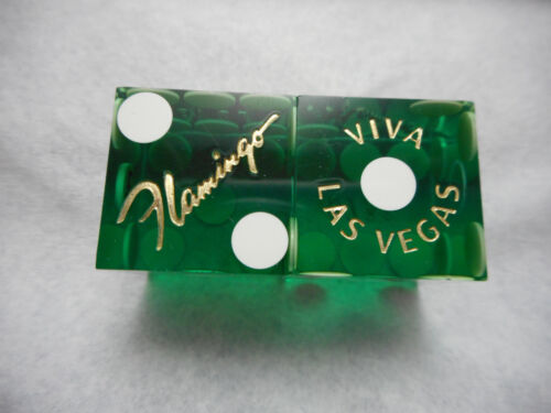 Pair of FLAMINGO LV Casino Dice - Clear Green, Matching #s