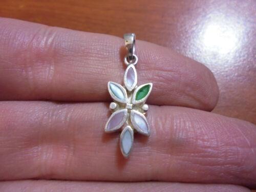 Vtg Sterling silver mother of pearl shell flower pendant 1.6 grams