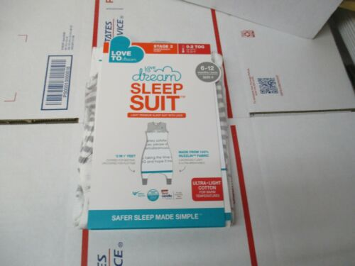 BRAND NEW LOVE TO DREAM SLEEP SUIT STAGE 3 0.2 TOG SIZE 0 6-12 MONTHS GRAY/WHITE