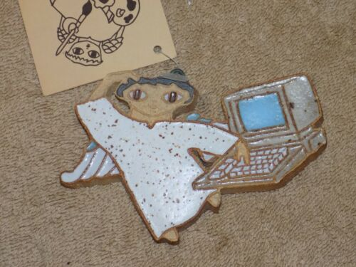Computer Angel Pottery Ornament Monks of Valyermo St Andrews Abbey Tech Gift